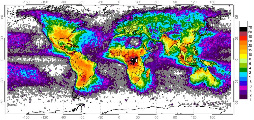 Глобальная карта частоты ударов молний (шкала показывает число ударов в год на квадратный километр). Истокник: wikipedia.