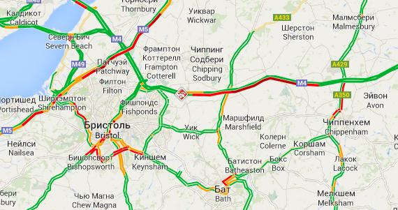 Пробка по направлению к Бристолю (11:00, 09.08.2014)